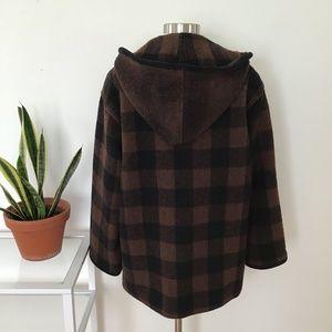 Vintage Wool Brown and Black Plaid Hooded Coat